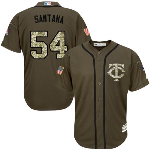 Men's Majestic Minnesota Twins #54 Ervin Santana Authentic Green Salute to Service MLB Jersey