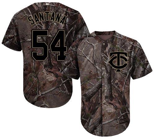 Youth Majestic Minnesota Twins #54 Ervin Santana Authentic Camo Realtree Collection Flex Base MLB Jersey
