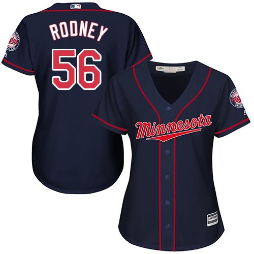 Women's Majestic Minnesota Twins #56 Fernando Rodney Authentic Navy Blue Alternate Road Cool Base MLB Jersey