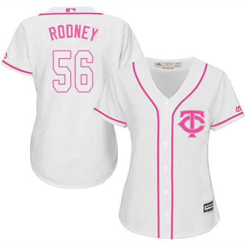 Women's Majestic Minnesota Twins #56 Fernando Rodney Authentic White Fashion Cool Base MLB Jersey