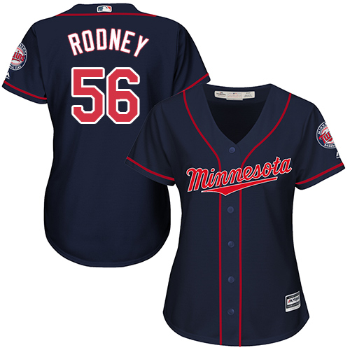 Women's Majestic Minnesota Twins #56 Fernando Rodney Replica Navy Blue Alternate Road Cool Base MLB Jersey