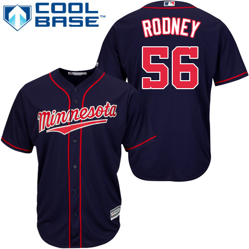 Youth Majestic Minnesota Twins #56 Fernando Rodney Authentic Navy Blue Alternate Road Cool Base MLB Jersey
