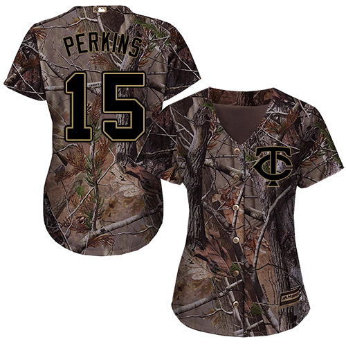 Women's Majestic Minnesota Twins #15 Glen Perkins Authentic Camo Realtree Collection Flex Base MLB Jersey