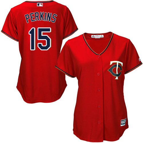 Women's Majestic Minnesota Twins #15 Glen Perkins Replica Scarlet Alternate Cool Base MLB Jersey