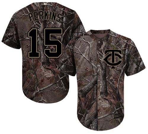 Youth Majestic Minnesota Twins #15 Glen Perkins Authentic Camo Realtree Collection Flex Base MLB Jersey
