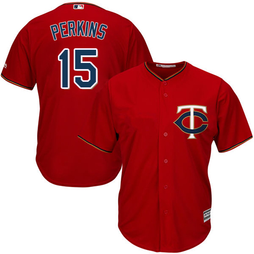 Youth Majestic Minnesota Twins #15 Glen Perkins Replica Scarlet Alternate Cool Base MLB Jersey