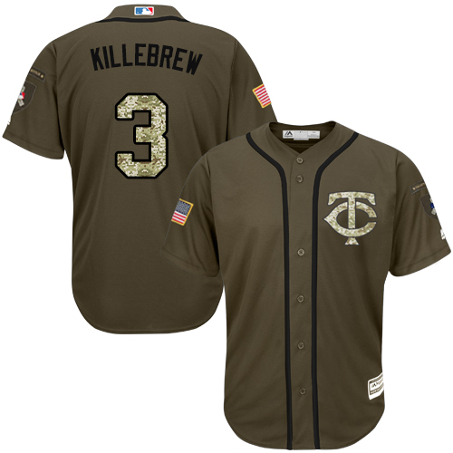Men's Majestic Minnesota Twins #3 Harmon Killebrew Authentic Green Salute to Service MLB Jersey