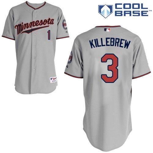 Men's Majestic Minnesota Twins #3 Harmon Killebrew Authentic Grey Road Cool Base MLB Jersey