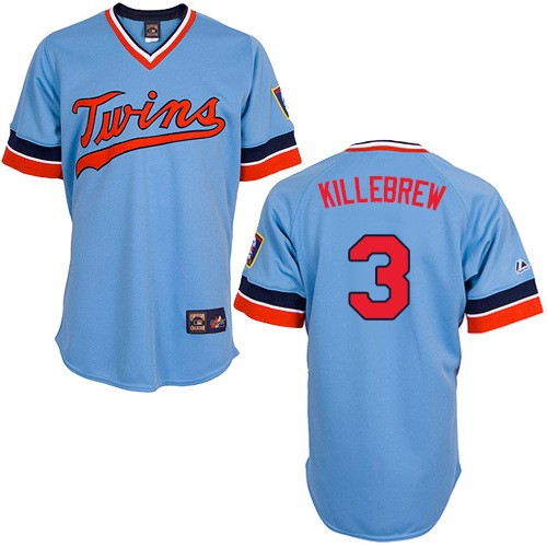 Men's Majestic Minnesota Twins #3 Harmon Killebrew Authentic Light Blue Cooperstown Throwback MLB Jersey