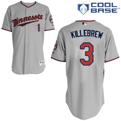 Men's Majestic Minnesota Twins #3 Harmon Killebrew Replica Grey Road Cool Base MLB Jersey