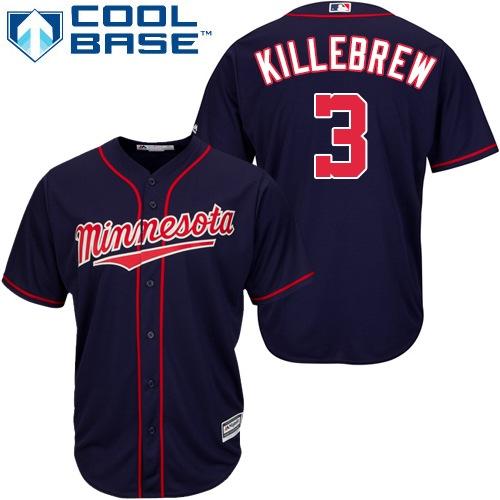 Men's Majestic Minnesota Twins #3 Harmon Killebrew Replica Navy Blue Alternate Road Cool Base MLB Jersey