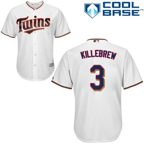 Men's Majestic Minnesota Twins #3 Harmon Killebrew Replica White Home Cool Base MLB Jersey