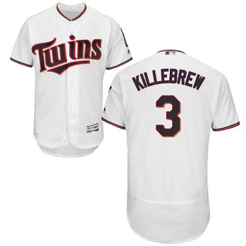 Men's Majestic Minnesota Twins #3 Harmon Killebrew White Home Flex Base Authentic Collection MLB Jersey