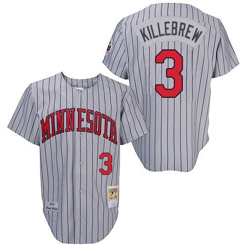 Men's Mitchell and Ness 1987 Minnesota Twins #3 Harmon Killebrew Replica Grey Throwback MLB Jersey