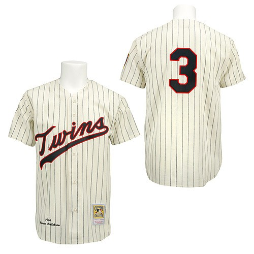 Men's Mitchell and Ness Minnesota Twins #3 Harmon Killebrew Authentic Cream/Black Strip Throwback MLB Jersey