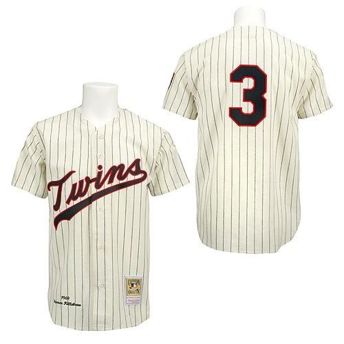 Men's Mitchell and Ness Minnesota Twins #3 Harmon Killebrew Replica Cream/Black Strip Throwback MLB Jersey