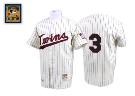Men's Mitchell and Ness Minnesota Twins #3 Harmon Killebrew Replica White/Blue Strip Throwback MLB Jersey