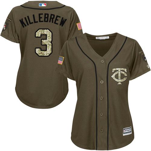 Women's Majestic Minnesota Twins #3 Harmon Killebrew Authentic Green Salute to Service MLB Jersey