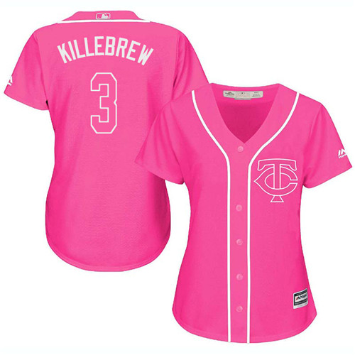 Women's Majestic Minnesota Twins #3 Harmon Killebrew Authentic Pink Fashion Cool Base MLB Jersey