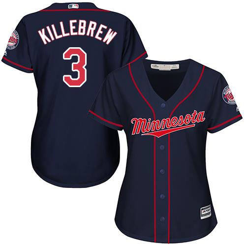 Women's Majestic Minnesota Twins #3 Harmon Killebrew Replica Navy Blue Alternate Road Cool Base MLB Jersey