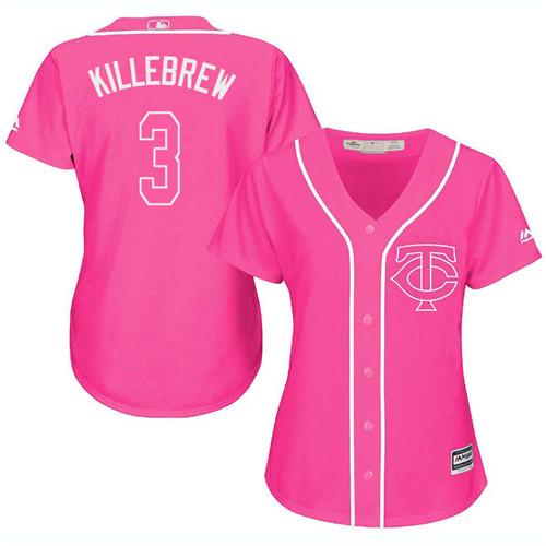 Women's Majestic Minnesota Twins #3 Harmon Killebrew Replica Pink Fashion Cool Base MLB Jersey