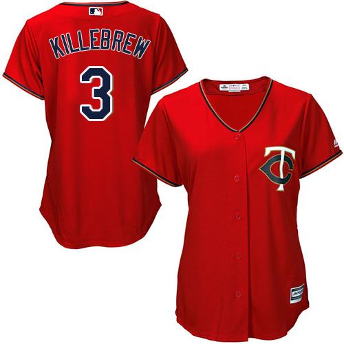 Women's Majestic Minnesota Twins #3 Harmon Killebrew Replica Scarlet Alternate Cool Base MLB Jersey