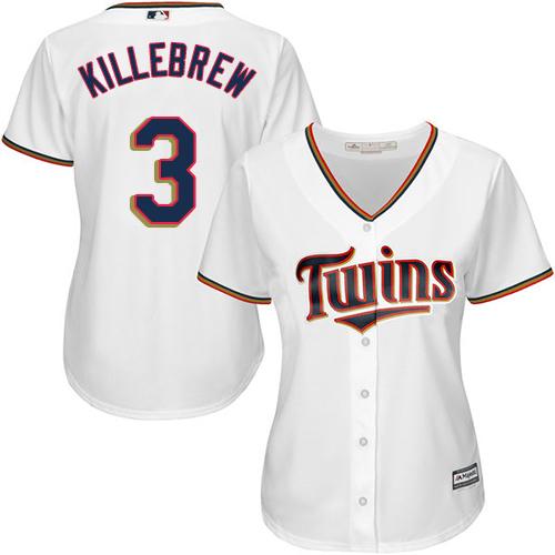 Women's Majestic Minnesota Twins #3 Harmon Killebrew Replica White Home Cool Base MLB Jersey