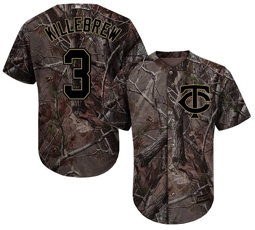 Youth Majestic Minnesota Twins #3 Harmon Killebrew Authentic Camo Realtree Collection Flex Base MLB Jersey