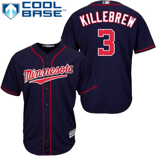 Youth Majestic Minnesota Twins #3 Harmon Killebrew Authentic Navy Blue Alternate Road Cool Base MLB Jersey