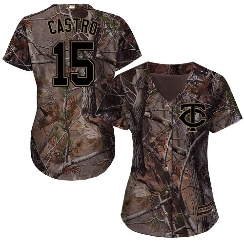 Women's Majestic Minnesota Twins #15 Jason Castro Authentic Camo Realtree Collection Flex Base MLB Jersey