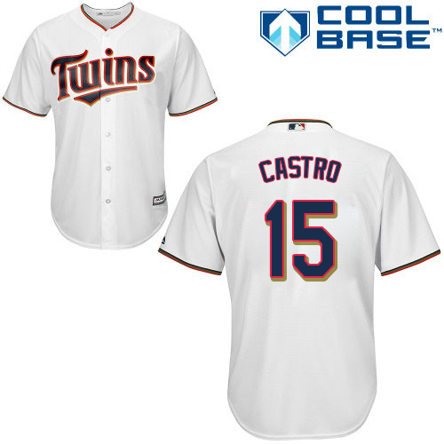 Youth Majestic Minnesota Twins #15 Jason Castro Authentic White Home Cool Base MLB Jersey