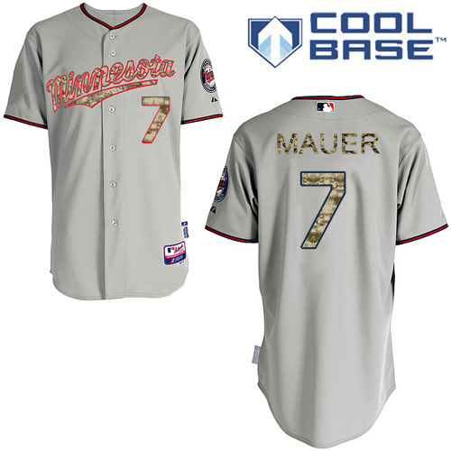 Men's Majestic Minnesota Twins #7 Joe Mauer Authentic Grey USMC Cool Base MLB Jersey