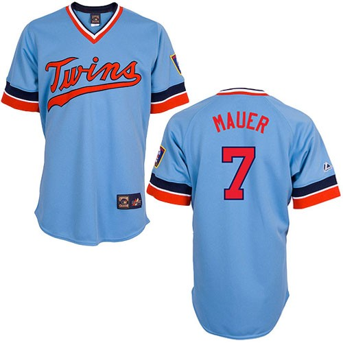 Men's Majestic Minnesota Twins #7 Joe Mauer Authentic Light Blue Cooperstown Throwback MLB Jersey