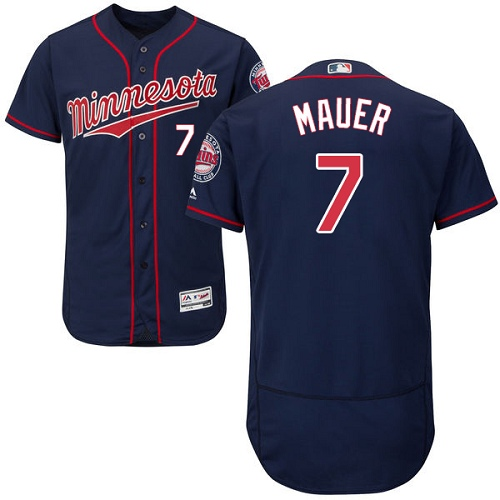 Men's Majestic Minnesota Twins #7 Joe Mauer Authentic Navy Blue Alternate Flex Base Authentic Collection MLB Jersey