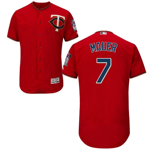 Men's Majestic Minnesota Twins #7 Joe Mauer Authentic Scarlet Alternate Flex Base Authentic Collection MLB Jersey