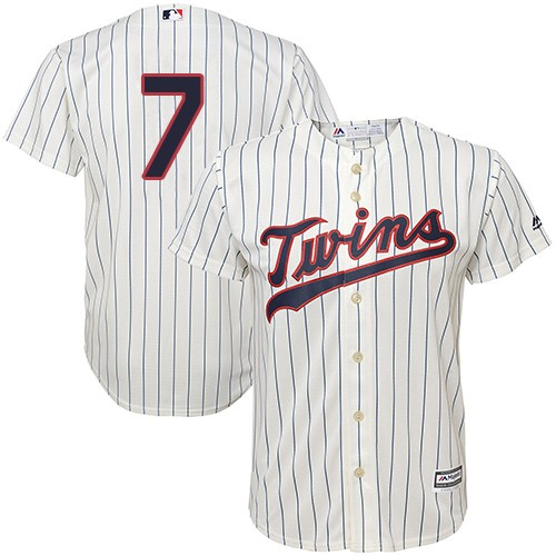Men's Majestic Minnesota Twins #7 Joe Mauer Replica Cream Alternate Cool Base MLB Jersey