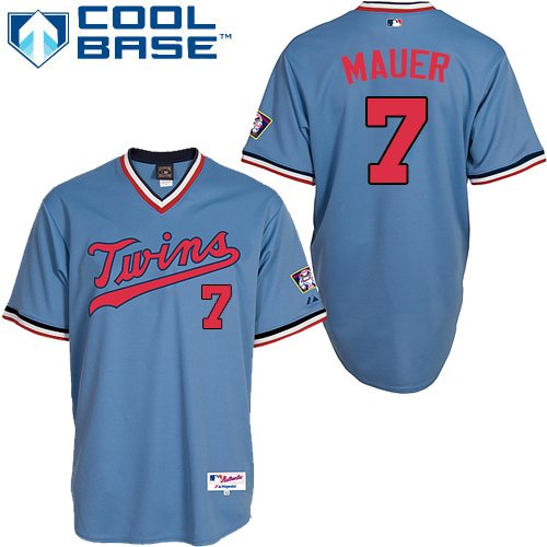 Men's Majestic Minnesota Twins #7 Joe Mauer Replica Light Blue 1984 Turn Back The Clock MLB Jersey