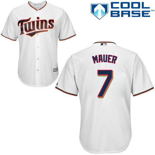 Men's Majestic Minnesota Twins #7 Joe Mauer Replica White Home Cool Base MLB Jersey