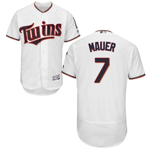Men's Majestic Minnesota Twins #7 Joe Mauer White Home Flex Base Authentic Collection MLB Jersey