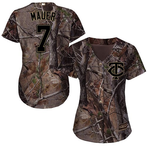 Women's Majestic Minnesota Twins #7 Joe Mauer Authentic Camo Realtree Collection Flex Base MLB Jersey