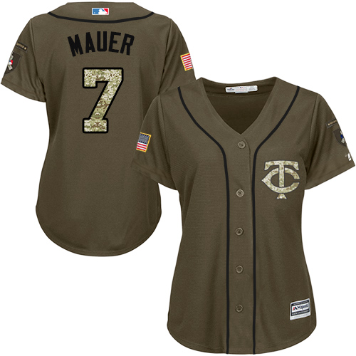 Women's Majestic Minnesota Twins #7 Joe Mauer Authentic Green Salute to Service MLB Jersey
