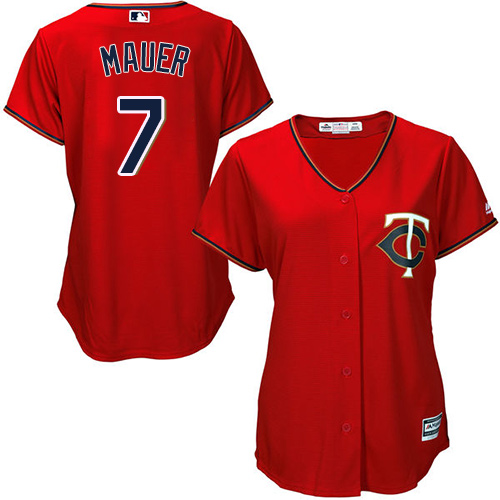 Women's Majestic Minnesota Twins #7 Joe Mauer Authentic Scarlet Alternate Cool Base MLB Jersey