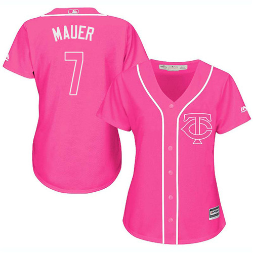 Women's Majestic Minnesota Twins #7 Joe Mauer Replica Pink Fashion Cool Base MLB Jersey
