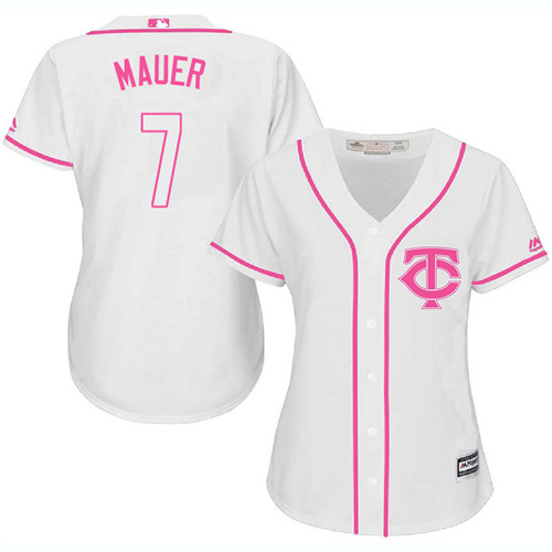 Women's Majestic Minnesota Twins #7 Joe Mauer Replica White Fashion Cool Base MLB Jersey