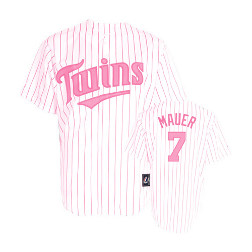 Women's Majestic Minnesota Twins #7 Joe Mauer Replica White/Pink Strip MLB Jersey