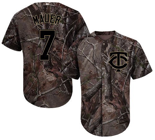 Youth Majestic Minnesota Twins #7 Joe Mauer Authentic Camo Realtree Collection Flex Base MLB Jersey