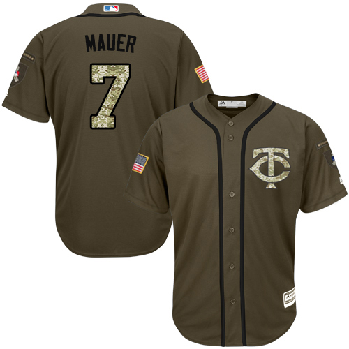 Youth Majestic Minnesota Twins #7 Joe Mauer Authentic Green Salute to Service MLB Jersey