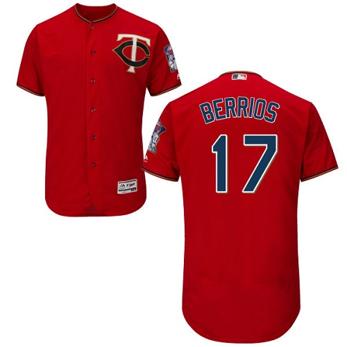 Men's Majestic Minnesota Twins #17 Jose Berrios Authentic Scarlet Alternate Flex Base Authentic Collection MLB Jersey