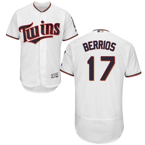 Men's Majestic Minnesota Twins #17 Jose Berrios White Home Flex Base Authentic Collection MLB Jersey