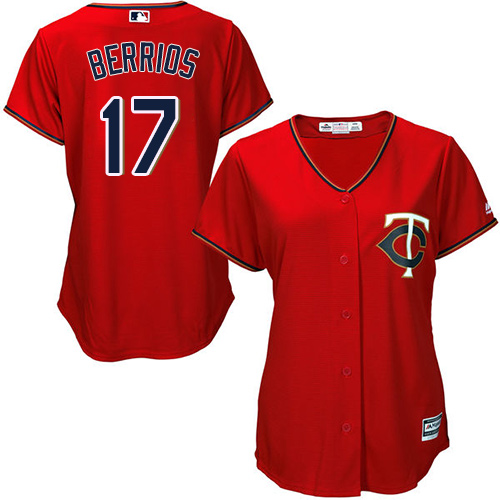 Women's Majestic Minnesota Twins #17 Jose Berrios Replica Scarlet Alternate Cool Base MLB Jersey